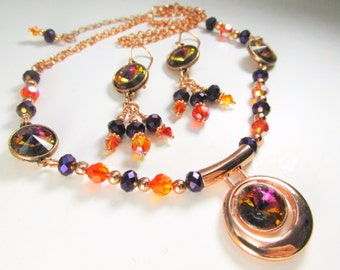 Swarovski Volcano Rivoli Purple and Orange Necklace and Earring Set in Copper