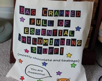 Childminding Stuff Bag & badge Great comical gift for babysitter child minder pre-school