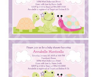 Puddles/Frog/Turtle/Snail Printable Baby Shower 5x7 inch Invitation Editable PDF Instant Download