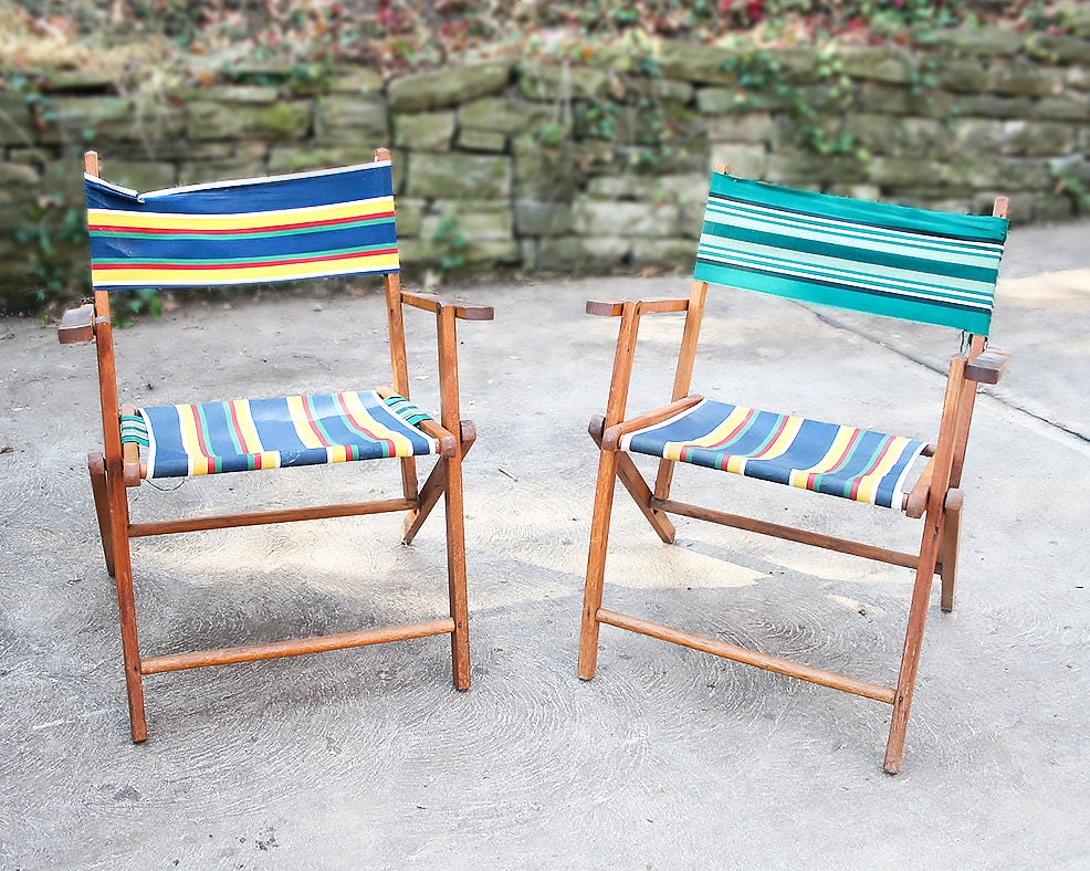 Vintage Wooden Deck Chairs, Folding Wooden Chairs, Mid