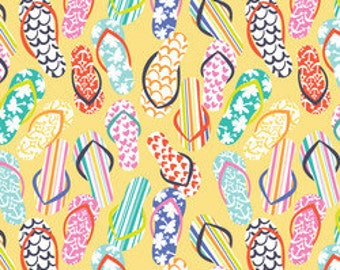 Flip Flop Fabric, Summer Fabric, Blend Fabrics, Sunsational, Life's a Beach, Yellow, Maude Asbury, One Yard