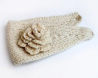 Women Knitted Headband Headwrap Ear Warmer with Flower White