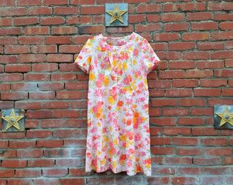 Pretty in Pink Dress // 50s Spring Floral Sheath Dress Pink Easter Plus Size XL 2X XXL