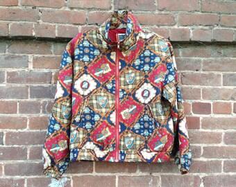 BARGAIN BIN! Shield of Honor Silk Jacket // 80s 90s Silk Windbreaker Baroque Blue Red Plaid Shields Small Medium Large