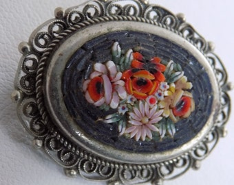 """Vintage brooch, Italian floral micromosaic brooch, signed """"AIP"""" Italy brooch, antique collectible jewelry"""