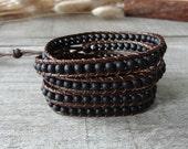 Black Beaded Bracelet Matte Gemstone Bracelet Boho Leather 5 Wrap Bracelet Beaded Bracelet 11628I