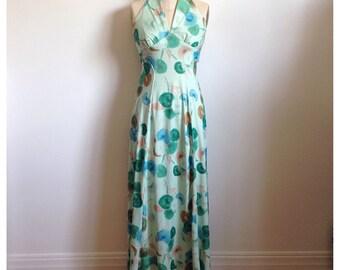 Vintage 1970s green floral halter dress