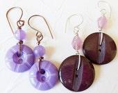 Purple Vintage Button Earrings ON SALE