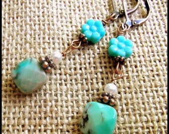 Art Deco Czech Art  Glass Earrings, Downton Abbey Earrings, The Titanic Earrings, Capri Blue Italian Glass Earrings, Blue Flower Earrings