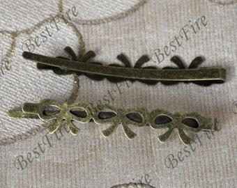 10 pcs Antique Bronzn Flower Hair Clip,bowknot bobby pin findings ,hairpin findings,bobby pin findings