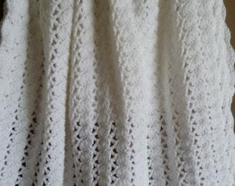 Snow-white Baby Blanket, Blessing Day Blanket/Afghan