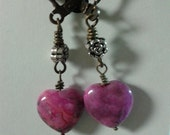 Pink Heart Rhodonite Stone with Silver Rose Bead Earrings Antique Brass Lever Back Ear Wire - Handmade Jewelry