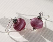 Pink Frosted Glass & Sterling Silver Earrings, Lampwork Jewelry, Dangle, Handmade, Glass Jewelry, Pink Glass Beads, Pink Earrings