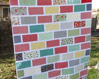 Block Wall Modern Quilt with April Showers Fabric by Moda Throw Quilt Lap Quilt Bright Colors Sew You Like It