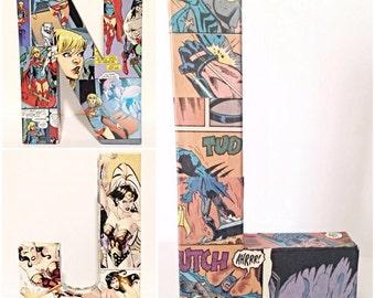 Pick 3--Comic Book Letter, Pop Art, Custom Made 8 inch