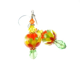 Colorful Glass Bead Earrings, Lampwork Flower Earrings, Green Yellow Orange Red Earrings, Lampwork Jewelry, Beadwork Earrings