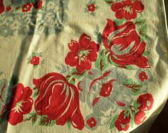 Vintage Mid Century Linen Table Cloth - Red Flowers