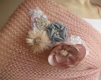 Pink Bridal Cape-Hand Knit Loop Scarf/Shawl -Pink  Neckwarmer/ Cowl with  Blush Brooch
