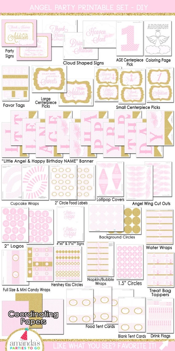 Little Angel Birthday | Little Angel Party Decorations | Onederland Birthday | 1st Birthday Printable | Baptism | Amanda's Parties To Go