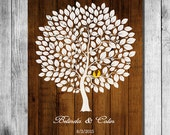 Wedding Guest Book Alternative Print Wood Wedding tree Rustic Wedding Tree Guest's Signatures - 17x22 -160 Signature Wedding Guest Book tree