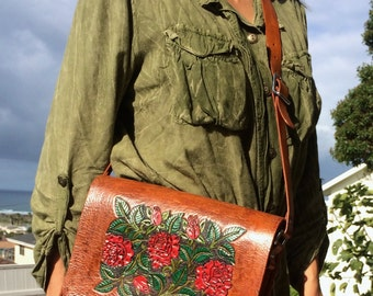 Messenger, Bag / Women / Hand Carved and Tooled / Leather / Large / Purse / Woman / Red, Roses / Flowers / Handmade / Custom / Hand Crafted