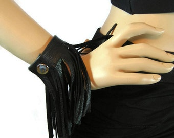 Black Leather Fringe Bracelets, Wristband Cuff, Rocker Biker Club wear Womens Statement Jewelry