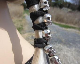 Postmordem Funeral Ponytail Holder Hair Accessories Skull Jewelry Black Leather Hair Ties Biker Glove Wrap Z106