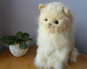 White Cat - Large Sitting Cat - White Toy Cat - Like Real Soft Toys
