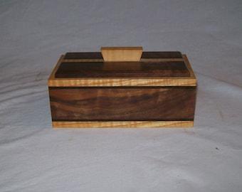 Fancy Walnut with Tiger Malpe trim and inlay catch all box