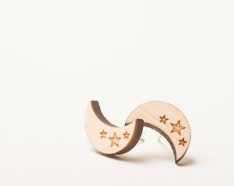 Crescent Moon and Stars Wood Earrings, Blonde Bamboo with Surgical Steel Posts, Small Minimalist Earrings