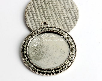 5Pcs 30mm High Quality Antique Silver Round Cabochon Base frame Base Pendant with Loop (SETHY-241)