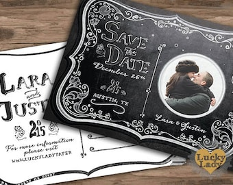 Chalkboard Moonlight Save the Date Postcard by Luckyladypaper - CUSTOM CARD ORDER