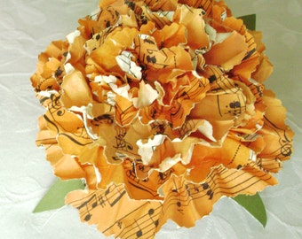marigold carnation sheet music hymnal book page recycled paper flower alternative paper bouquet