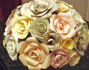 The Teraysa book page peach blush yellow mint green recycled mixed paper roses alternative wedding bouquet
