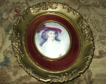 "Large Cameo Creation Oval Duchess Portrait  Antique Gold Ornate Victorian Frame Vintage 10"" x 11 1/2"""