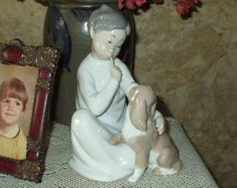 LLADRO Boy With Dog #4522 Decorative Figurine From Spain 1990 Vintage