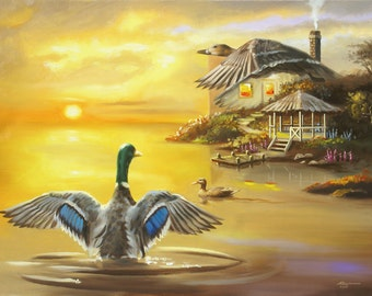 DUCK Inn illusion by RUSTY RUST original oils on canvas painting / D-164