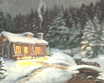 Log Cabin winter snow landscape 24x36 oils on canvas painting by RUSTY RUST / M-252