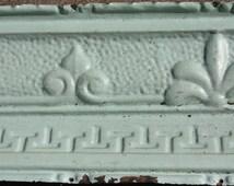 Antique Pressed Tin Ceiling Crown Molding Mint Green Distressed Fleur De Lis Salvage Restoration Cottage Chic