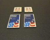 Four (4) Recycled Postage Magnets: Peace Corps, American Flag