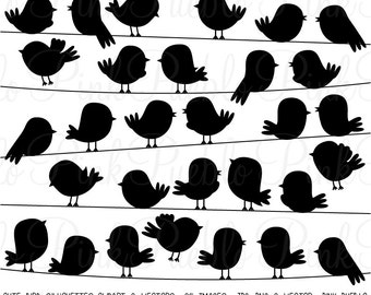 Cute Bird Silhouettes Clipart Clip Art Vectors, Flying and On a Wire - Commercial and Personal Use