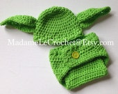 Newborn/0-3 Yoda Crochet Hat and Diaper Cover Set