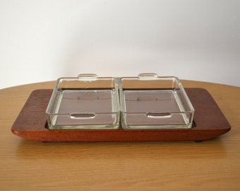 Vintage Danish Modern Lunning Teak Tray with Glass Inserts