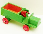 Miniature truck green wood pick up truck with driver toy play working wheels made in Eastern Germany 20 years ago