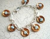 Copper Penny & Aquamarine Charm Bracelet, Free US Shipping