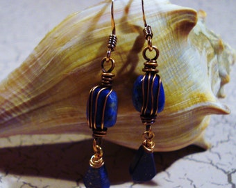 Lapis Lazuli and Copper Earrings Free US Shipping