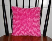 SALE, Funky Fluffy Super Soft Small Rosebud Swirl Pillow, Hot Pink Fuzzy Pillow