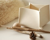 "Felt Basket, Pure Wool White Felt Box 8"" x 8"" x 6"""