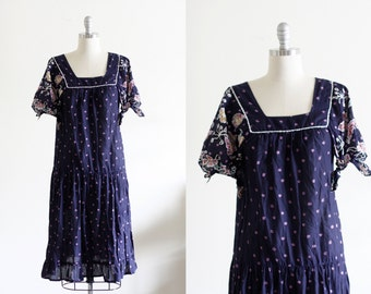 70's Cotton Floral Boho Dress by Jody of California S/M