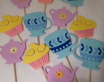 Various cup cake toppers